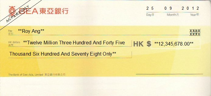 Printed Cheque of BEA Bank - Personal Hong Kong (東亞銀行)