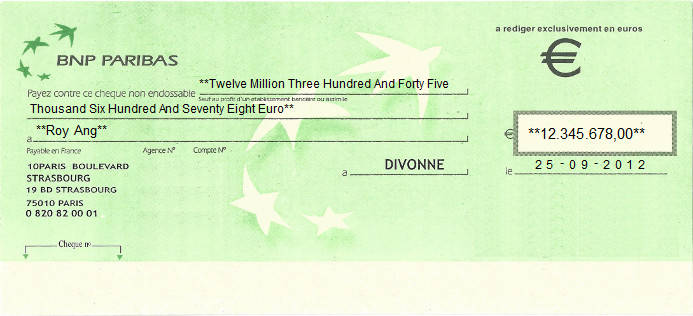 Printed Cheque of BNP Paribas Bank in France