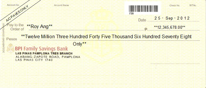 Printed Cheque of BPI Faimly Savings Bank Philippines
