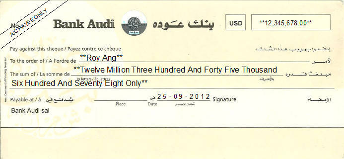 Printed Cheque of Bank Audi in Lebanon