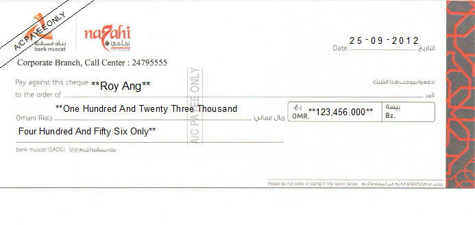 Printed Cheque of Bank Muscat - Najahi Oman