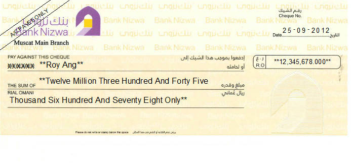 Printed Cheque of Bank Nizwa in Oman