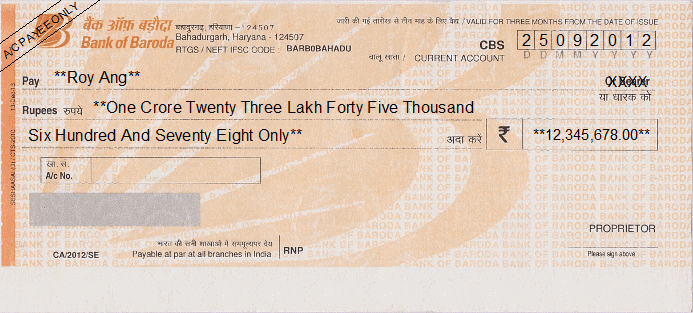 Printed Cheque of Bank of Baroda India