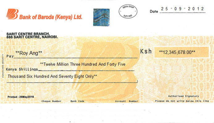 Printed Cheque of Bank of Baroda in Kenya