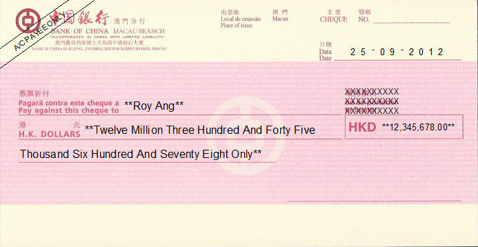 Printed Cheque of Bank of China (HKD) in Macau