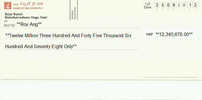 Bank Blank Cheque Printed Cheque of Bank of
