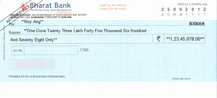 Printed Cheque of Bharat Bank India