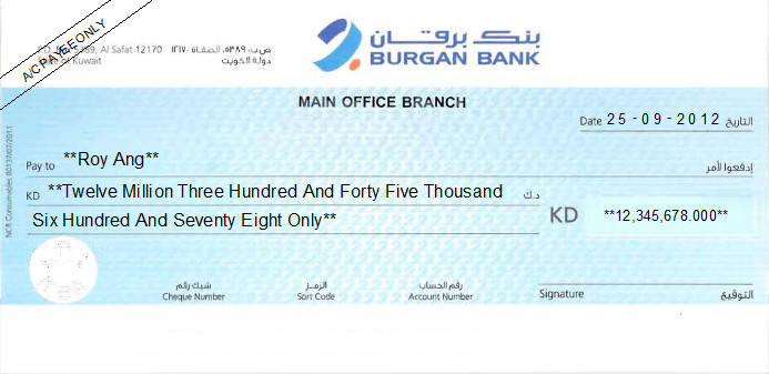 Printed Cheque of Burgan Bank in Kuwait