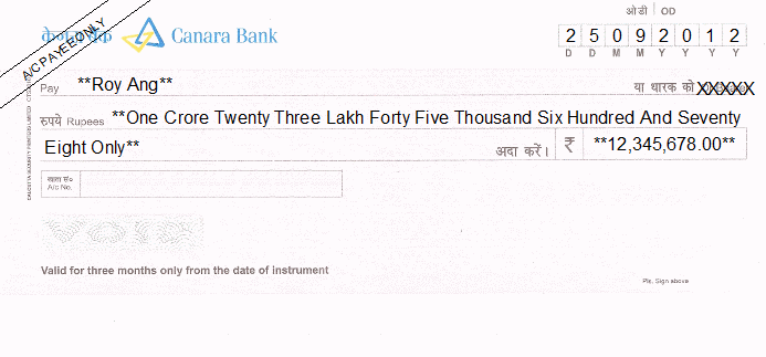 Printed Cheque of Canara Bank India