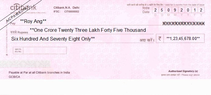 Printed Cheque of Citibank India