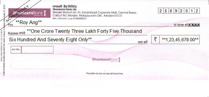 Printed Cheque of Dhanlaxmi Bank in India