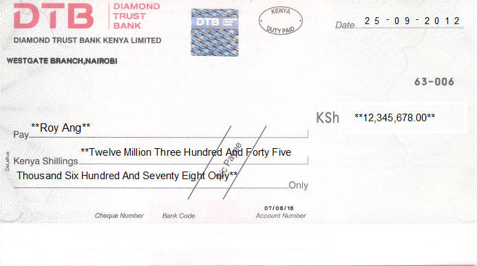 Printed Cheque of Diamond Trust Bank (DTB) in Kenya