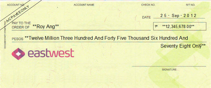 Printed Cheque of EastWest Bank (Personal) Philippines