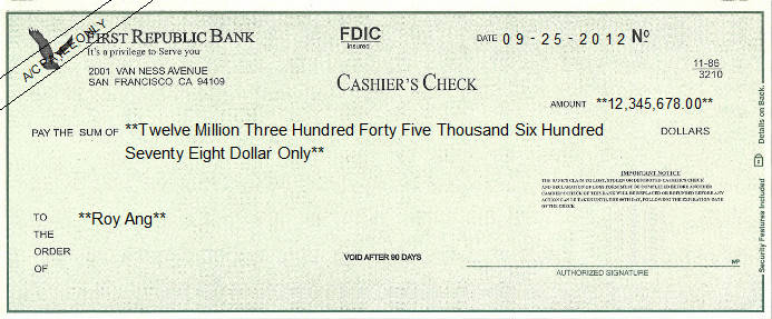 Printed Check of First Republic Bank in United States