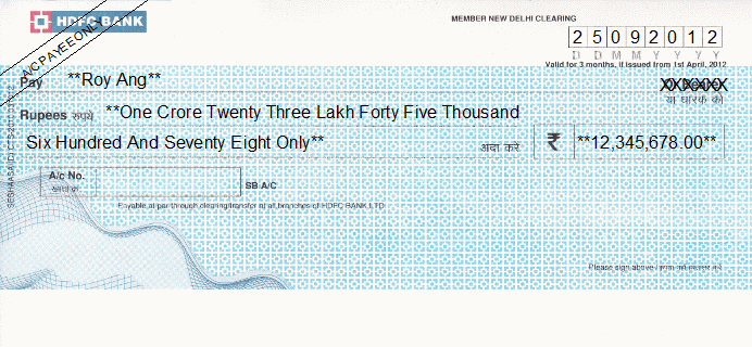 Printed Cheque of HDFC Bank India