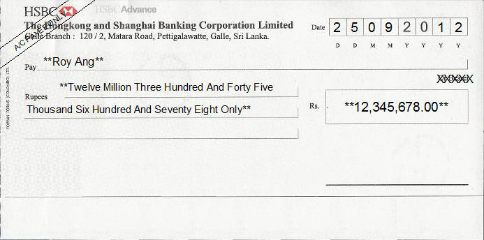 Printed Cheque of HSBC Bank - Advance in Sri Lanka