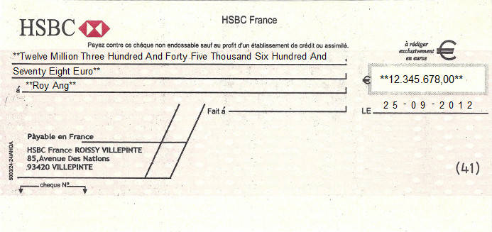 Printed Cheque of HSBC Bank in France