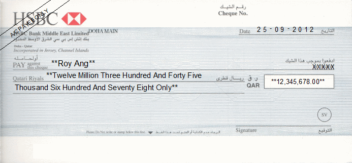 Cheque Writing Printing Software For Qatar Banks