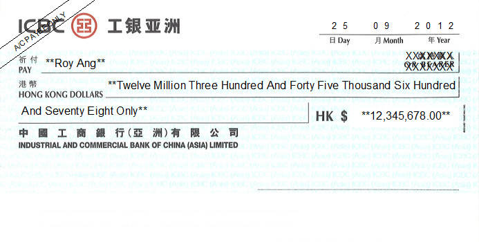 Printed Cheque of ICBC Bank - Personal in Hong Kong (工銀亞洲)