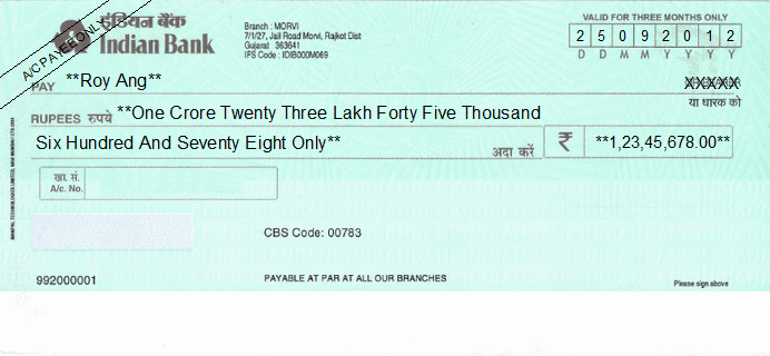 Printed Cheque of Indian Bank