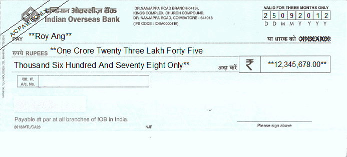 Printed Cheque of Indian Overseas Bank India
