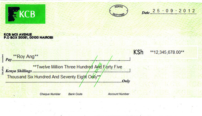 Printed Cheque of KCB in Kenya