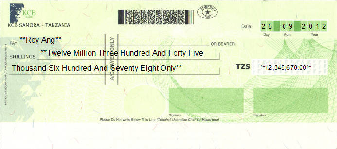 Printed Cheque of KCB Bank in Tanzania