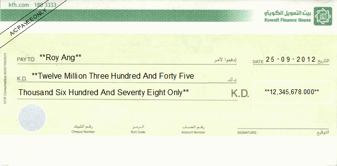 Printed Cheque of Kuwait Finance House in Kuwait