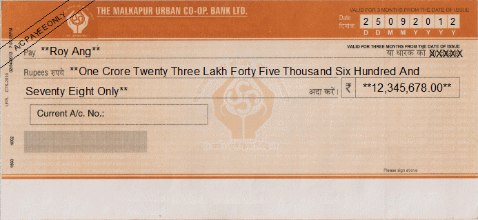 Printed Cheque of The Malkapur Urban Co-op. Bank India