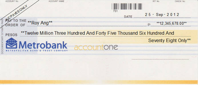 Printed Cheque of Metrobank (Personal) in Philippines