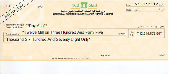 Printed Cheque of NCB Saudi Arabia
