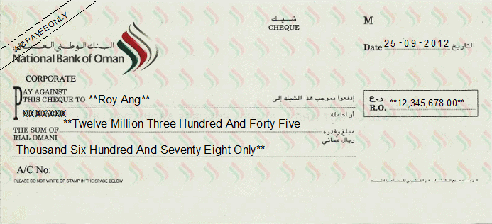 Printed Cheque of National Bank of Oman