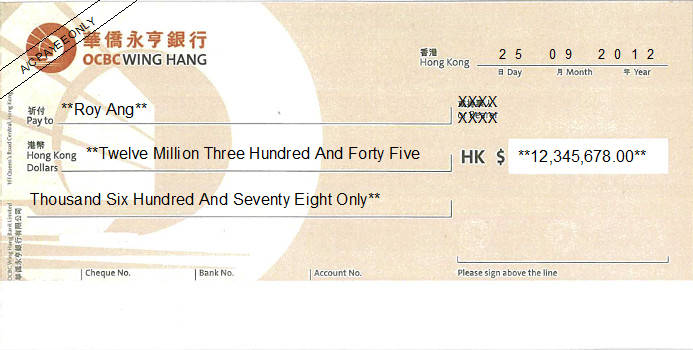 Printed Cheque of OCBC Wing Hang (Personal) in Hong Kong (華僑永亨銀行)