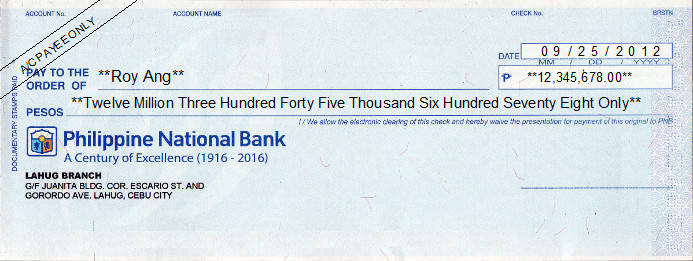 Printed Cheque of Philippine National Bank