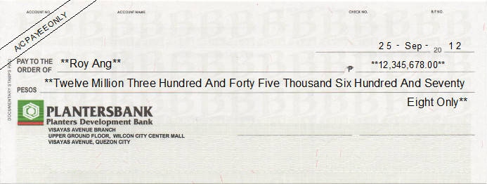 Printed Cheque of Planters Development Bank Philippines