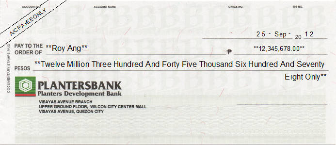 Printed Cheque of Planters Development Bank (Personal) Philippines