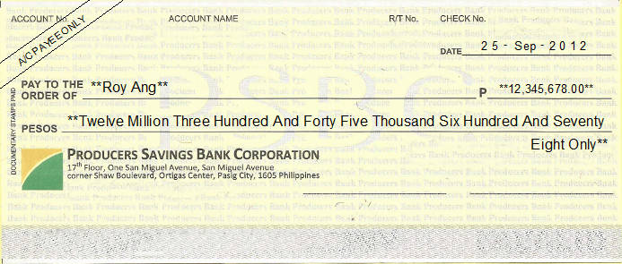 Printed Cheque of Producers Savings Bank Corporation (Personal) Philippines