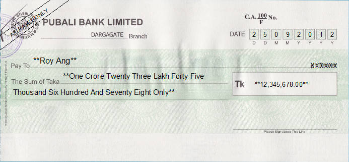 Printed Cheque of Pubali Bank Limited in Bangladesh