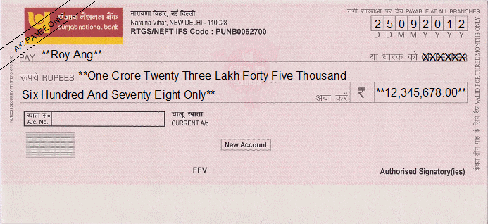 Printed Cheque of Punjab National Bank India