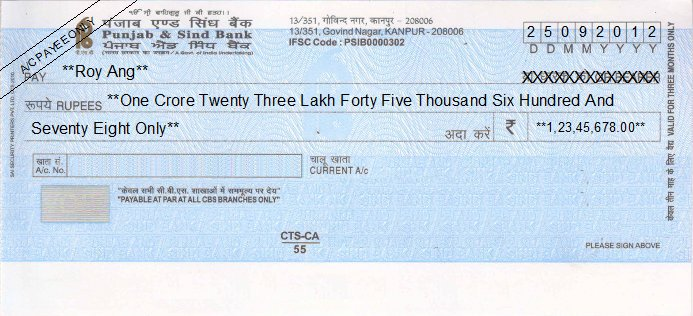 Printed Cheque of Punjab & Sind Bank India