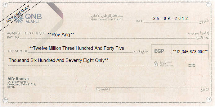 Printed Cheque of QNB ALAHLI in Egypt