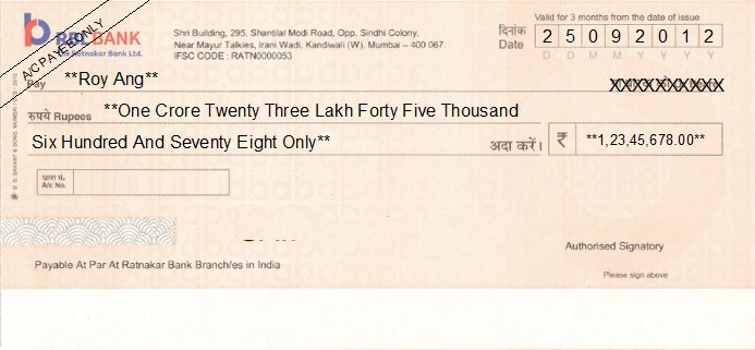 Printed Cheque of RBL Bank (The Ratnakar Bank) India