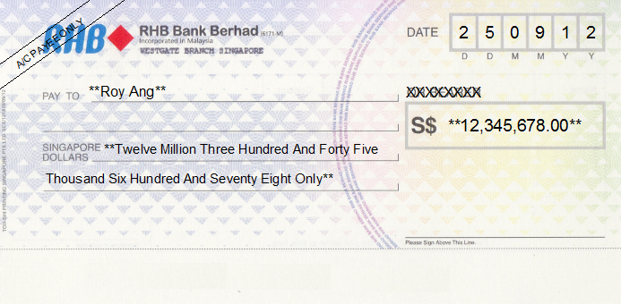Cheque Writing Printing Software For Singapore Banks