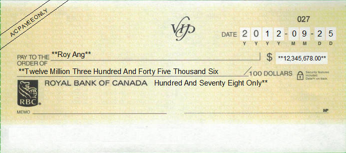 Printed Cheque of Royal Bank of Canada