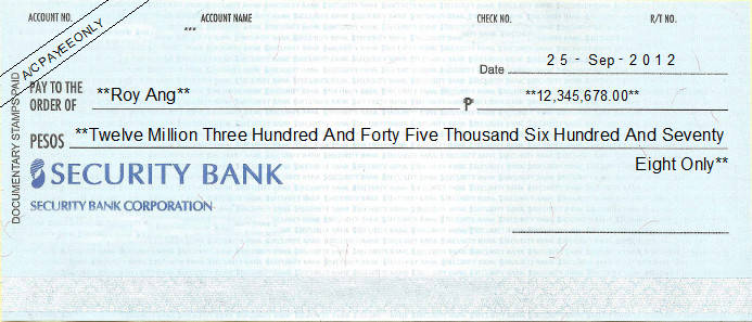 Printed Cheque of Security Bank (Personal) Philippines