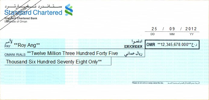 Printed Cheque of Standard Chartered Bank Oman