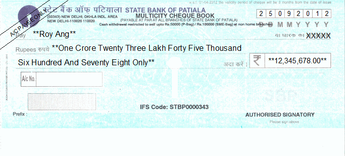 Printed Cheque of State Bank of Patiala India