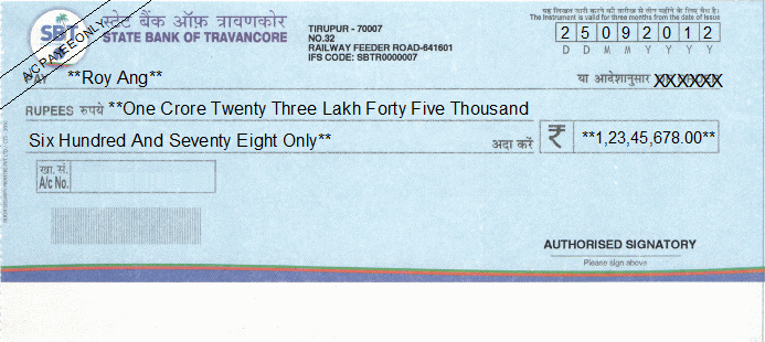 Printed Cheque of State Bank of Travancore India