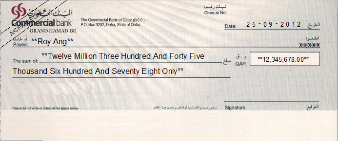 Printed Cheque of The Commercial Bank of Qatar