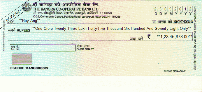 Printed Cheque of The Kangra Co-operative Bank India (Overdraft A/C)